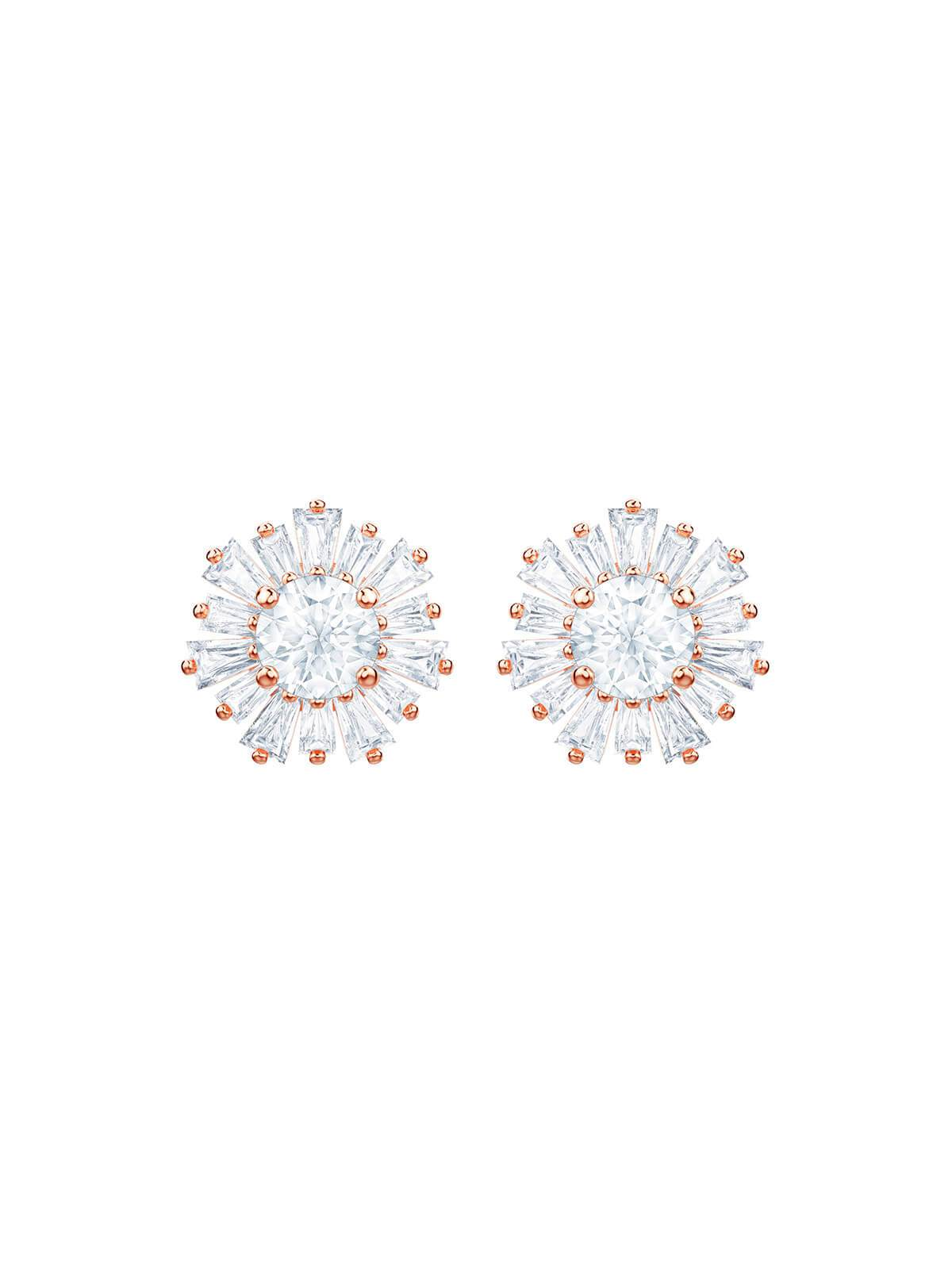 Swarovski Sunshine Rose Gold Plated and Clear Crystal Stud Earrings 5459597