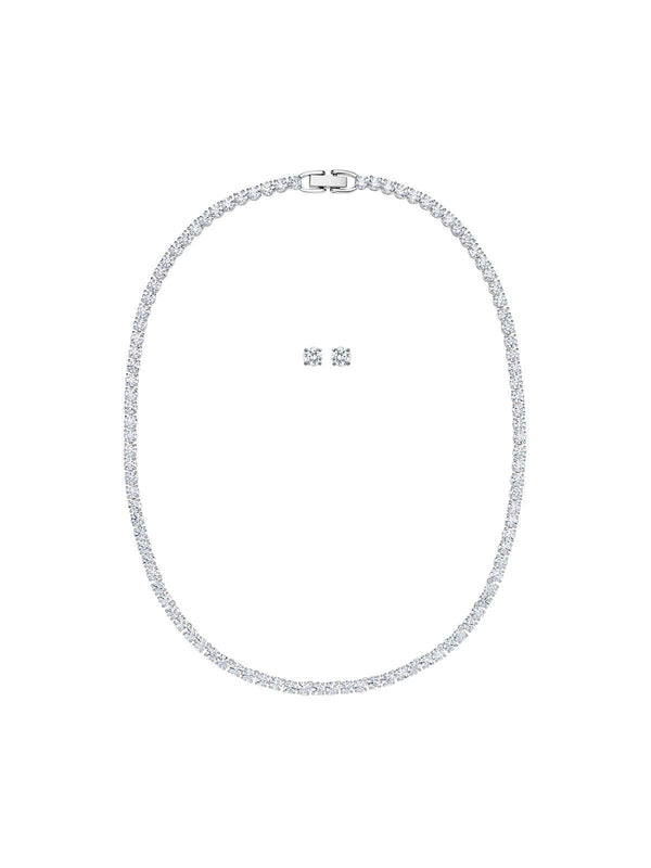 5506861 Swarovski Tennis Deluxe Rhodium Plated & Crystal Necklace and Earrings Set