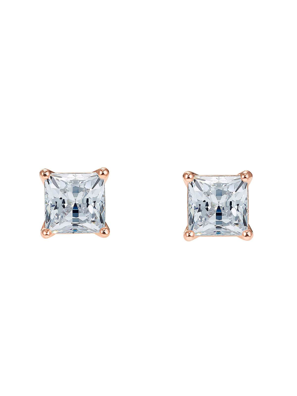5509935 Swarovski Attract Square Rose Gold Plated & Crystal Stud Earrings