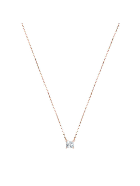 5510698 Swarovski Attract Square Rose Gold Plated and Clear Crystal Necklace