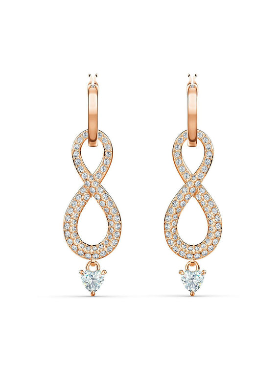 Swarovski Infinity Rose Gold Plated & Clear Crystal Earrings 5512625