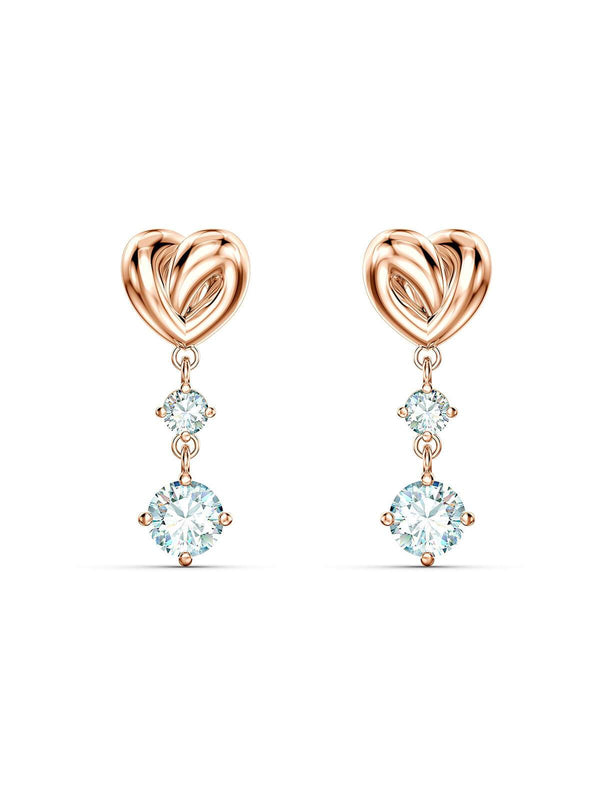 Swarovski Lifelong Heart Rose Gold Plated & Clear Crystal Earrings 5517942
