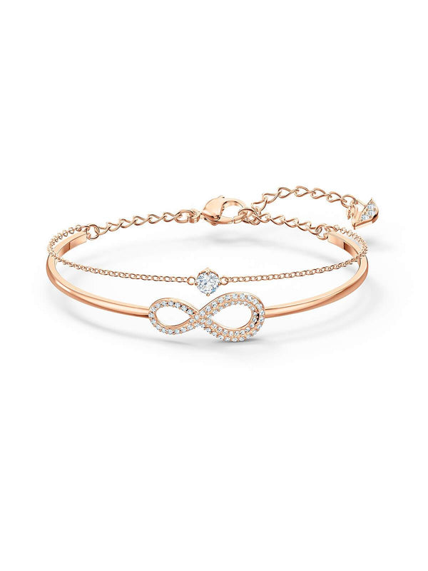 Swarovski Infinity Rose Gold Plated & Clear Crystal Bangle 5518871