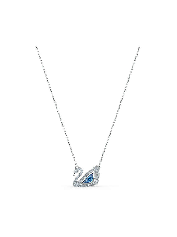 Swarovski Dancing Swan Rhodium Plated & Crystal Necklace 5533397