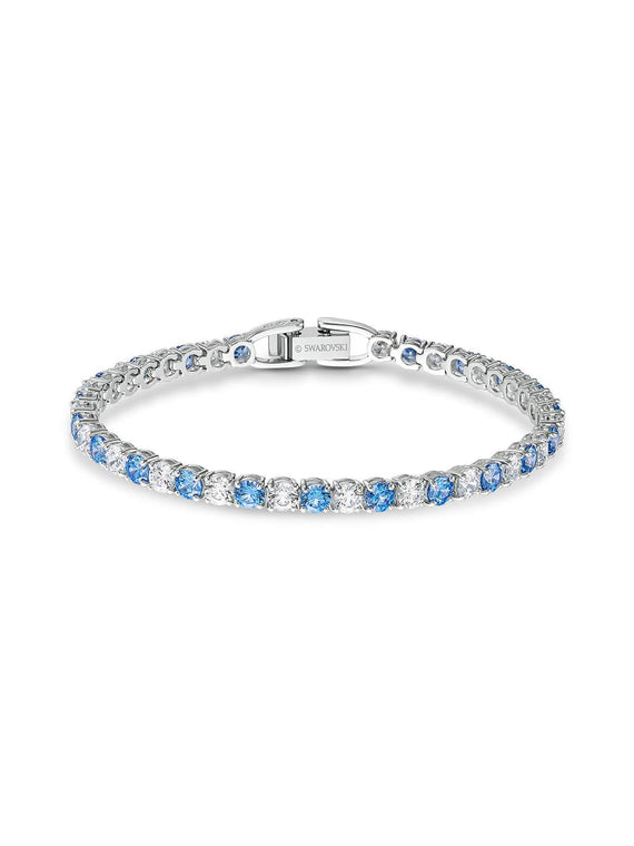 Swarovski Tennis Deluxe Rhodium Plated Blue & Clear Crystal Bracelet 5536469