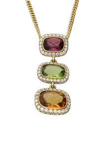 18ct Yellow Gold Multi Gemstone Set Necklace