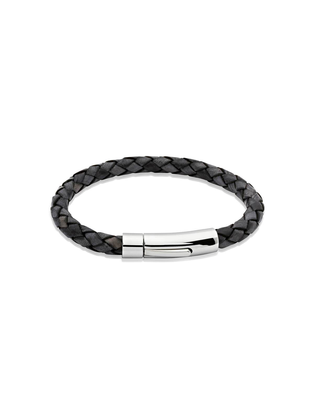 Unique & Co. 21cm Antique Black Leather Bracelet A40ABL/21CM