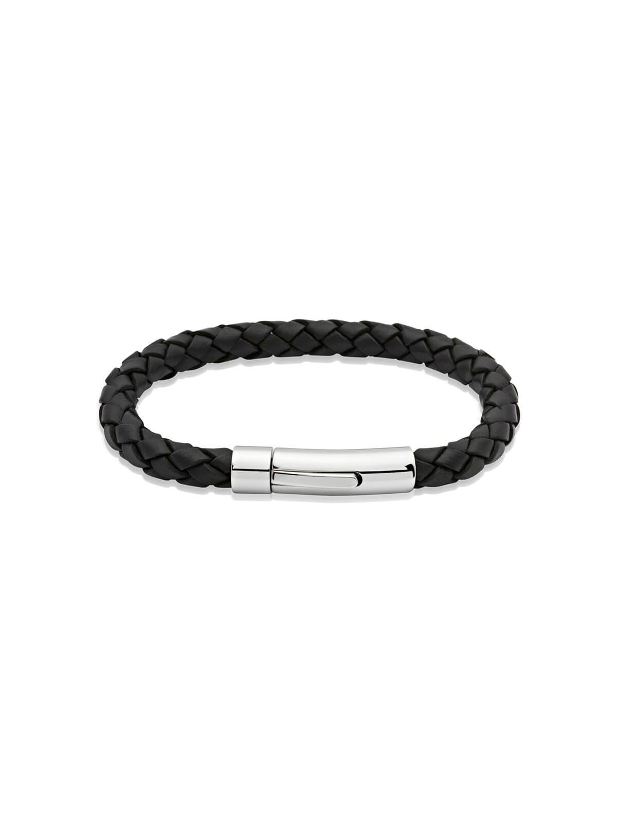 Unique & Co. 19cm Black Leather Bracelet A40BL/19CM