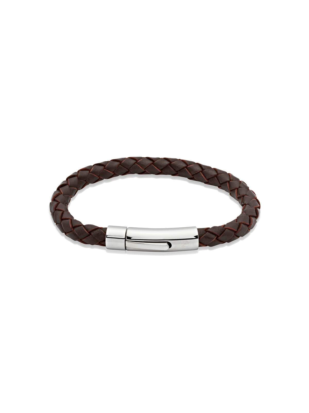Unique & Co. 23cm Dark Brown Leather Bracelet A40DB/23CM
