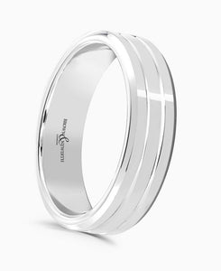 Brown & Newirth Artemis Patterned Wedding Ring in 18ct White Gold