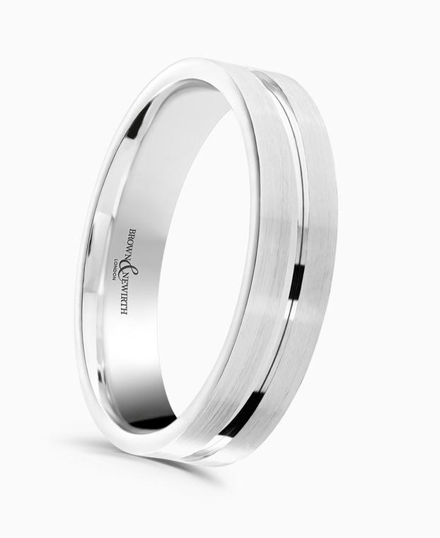 Brown & Newirth Atom Patterned Wedding Ring in 9ct White Gold