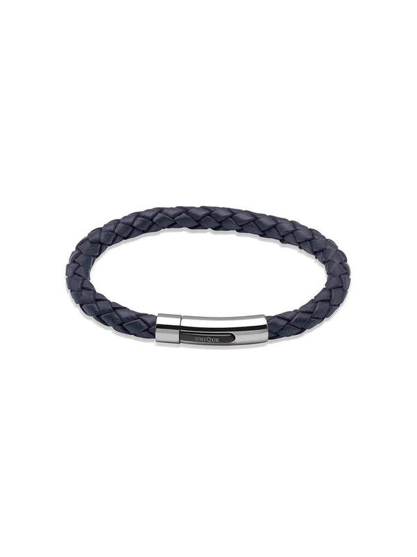 Unique & Co. 21cm Navy Blue Leather Bracelet B170NV/21CM