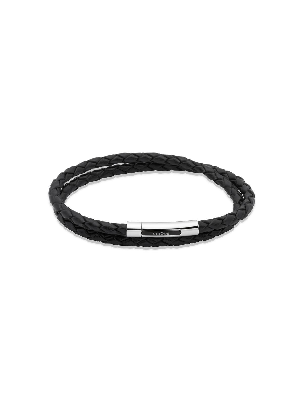 Unique & Co. 21cm Black Leather Double Wrap Bracelet B171BL/21CM