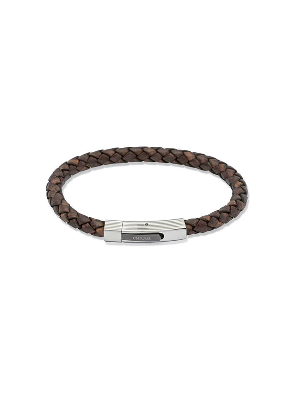Unique & Co. 21cm Antique Dark Brown Leather Bracelet B176ADB/21CM