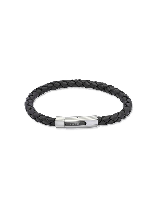 Unique & Co. 21cm Black Leather Bracelet B176BL/21CM