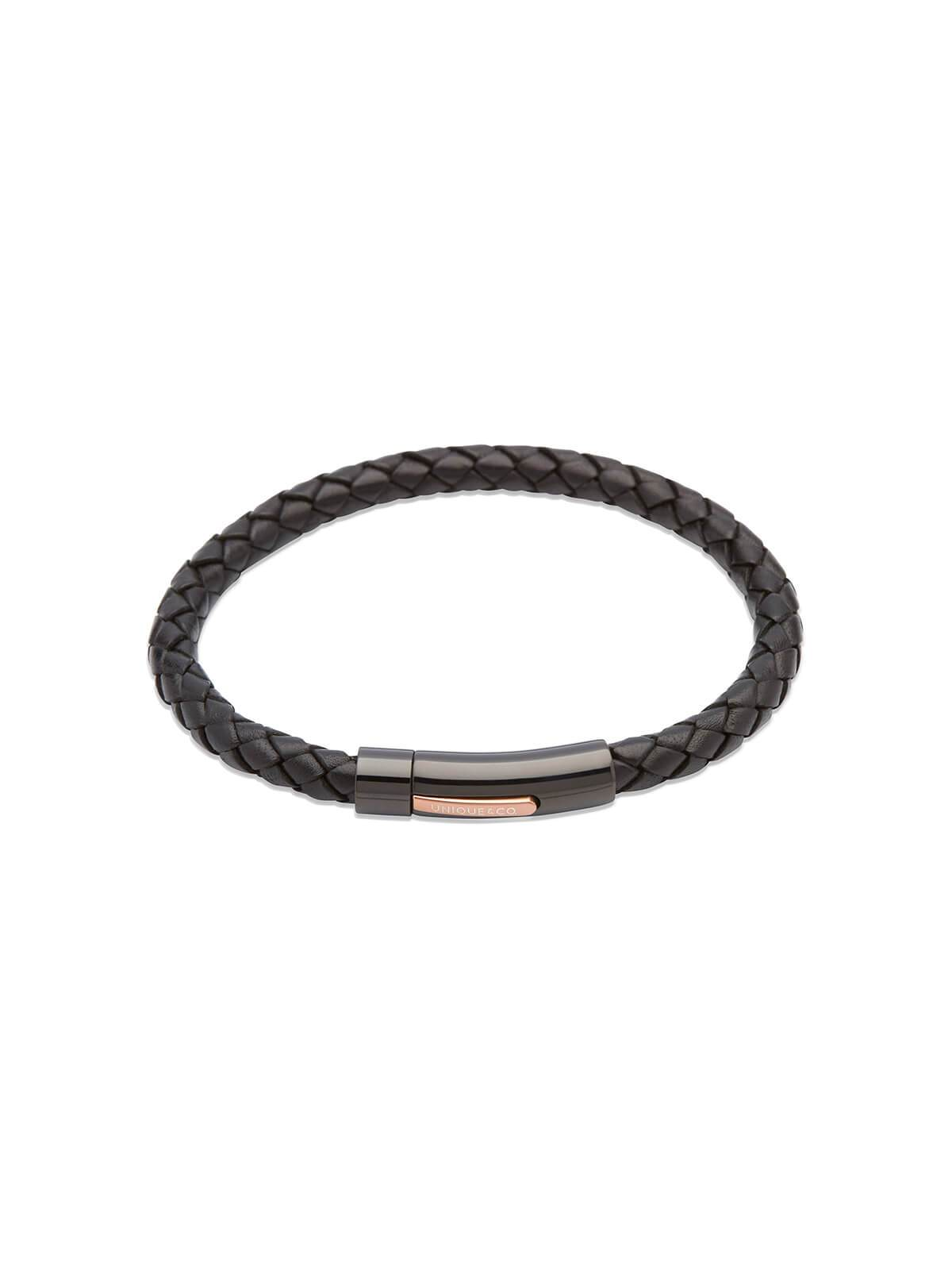 Unique & Co. 21cm Black Leather Bracelet B320BL/21CM