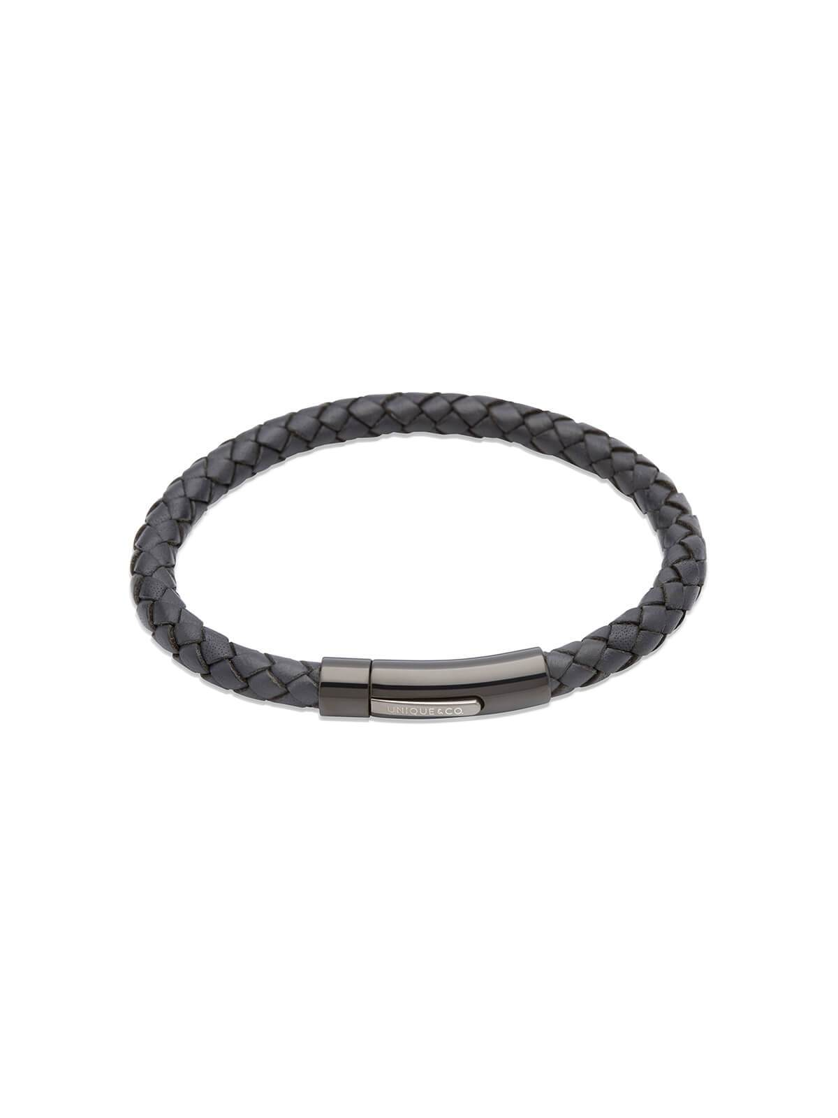 Unique & Co. 21cm Navy Blue Leather Bracelet B320NV/21CM