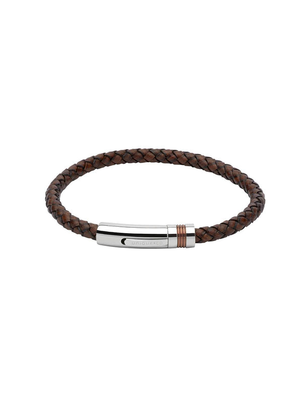 B345ADB/23CM Unique & Co. 23cm Antique Dark Brown Leather Bracelet with Brown IP Plated Clasp