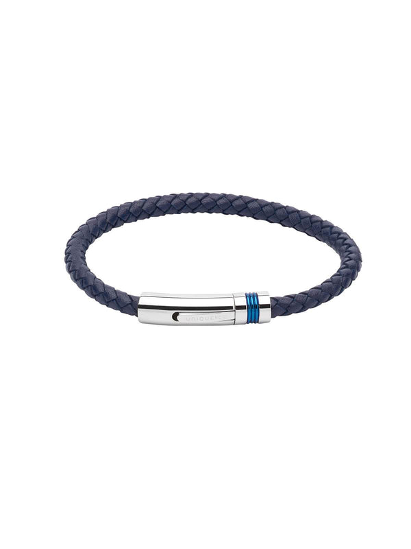 B345NV/23CM Unique & Co. 23cm Navy Leather Bracelet with Blue IP Plated Clasp