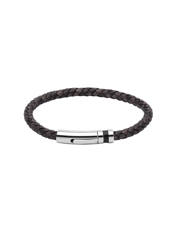 B346ABL/23CM Unique & Co. 23cm Antique Black Leather Bracelet with Leather Inlay Clasp