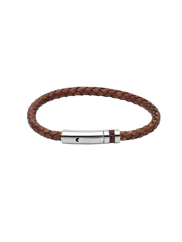 B346AB/23CM Unique & Co. 23cm Antique Brown Leather Bracelet with Leather Inlay Clasp