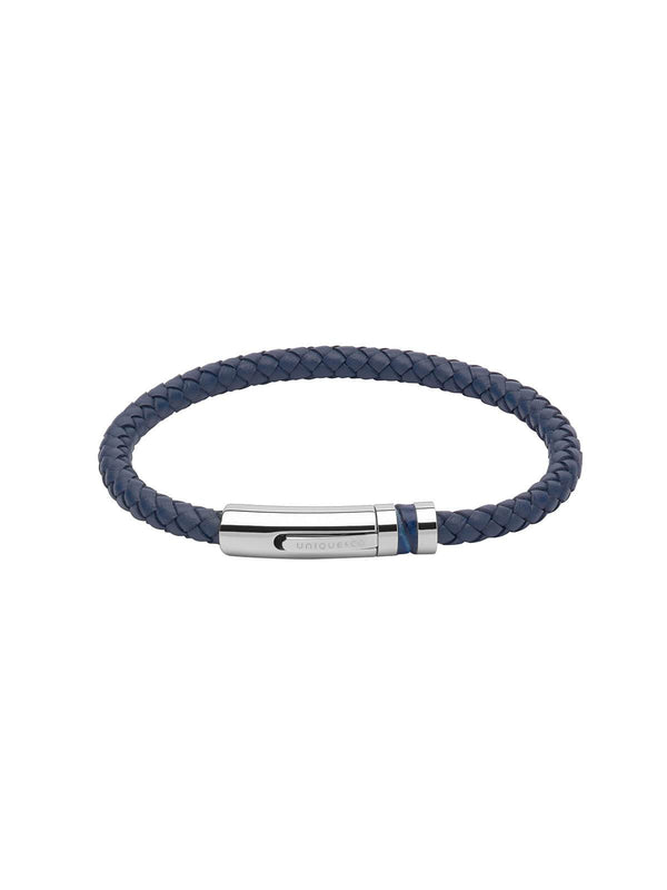 B346BLUE/23CM Unique & Co. 23cm Blue Leather Bracelet with Leather Inlay Clasp