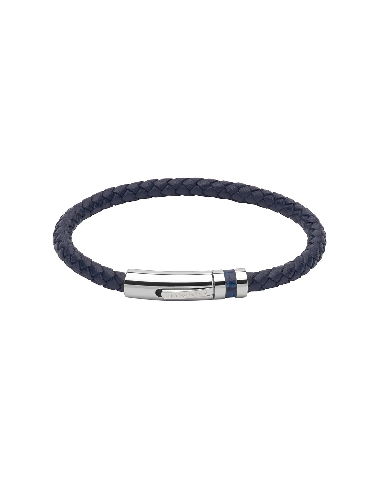Unique & Co. 21cm Navy Blue Leather Bracelet B346NV/21CM