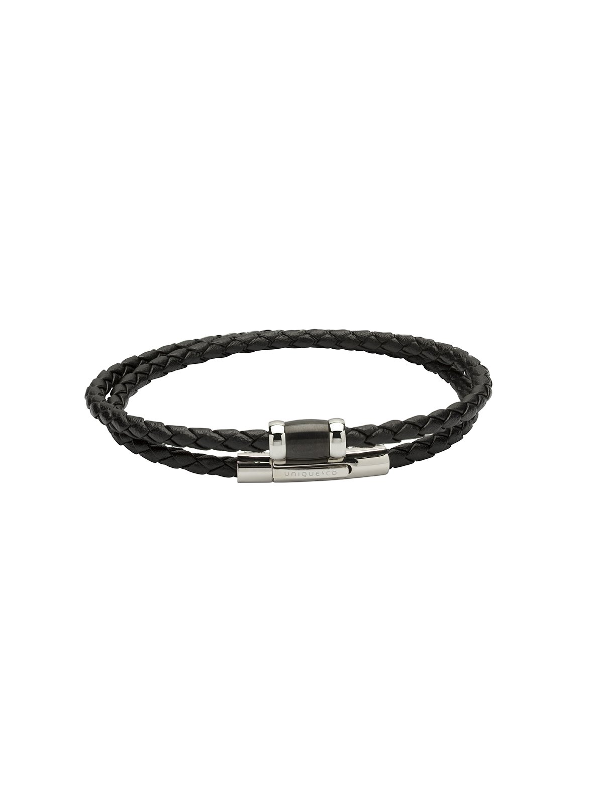 Unique & Co. 21cm Black Leather and Black IP Steel Bracelet B379BL/21CM