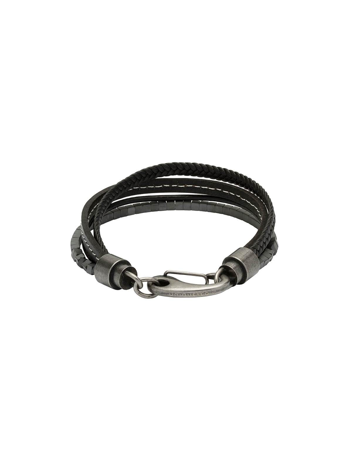 Unique & Co. 21cm Black Leather and Hematite Bead Bracelet B387WH/21CM