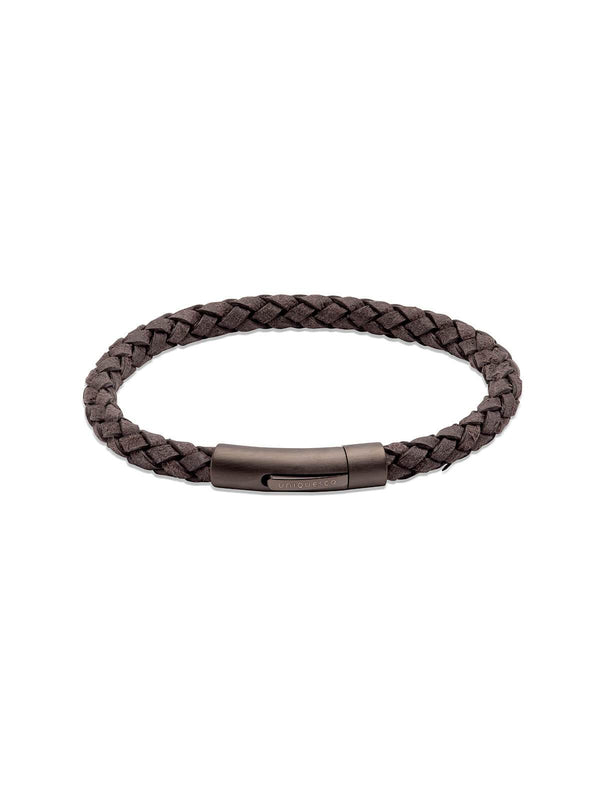 B450SE/21CM Unique & Co. 21cm Sesame Leather Bracelet with Matte Gunmetal IP Plated Clasp