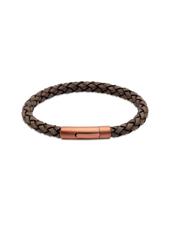 B452ABL/21CM Unique & Co. 21cm Antique Black Leather Bracelet with Matte Brown IP Plated Clasp