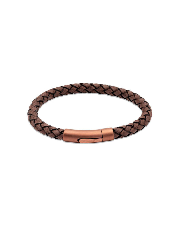 B452MO/21CM Unique & Co. 21cm Moro Leather Bracelet with Matte Brown IP Plated Clasp