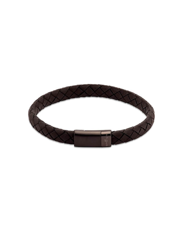 B454BL/21CM Unique & Co. 21cm Black Leather Bracelet with Black IP Plated Clasp