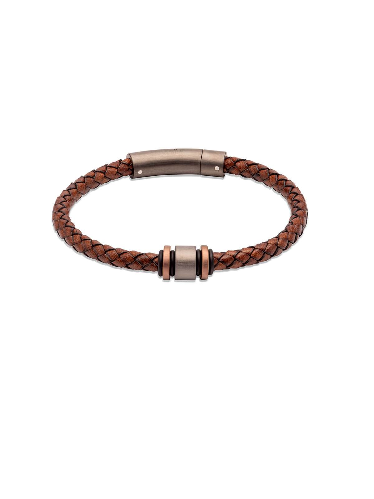 B457ADB/21CM Unique & Co. 21cm Antique Dark Brown Leather Bracelet with Matte & Polished Steel Clasp