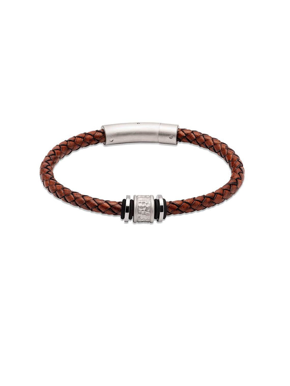 B458ADB/21CM Unique & Co. 21cm Antique Dark Brown Leather Bracelet with Gunmetal Matte & Polished Steel Clasp
