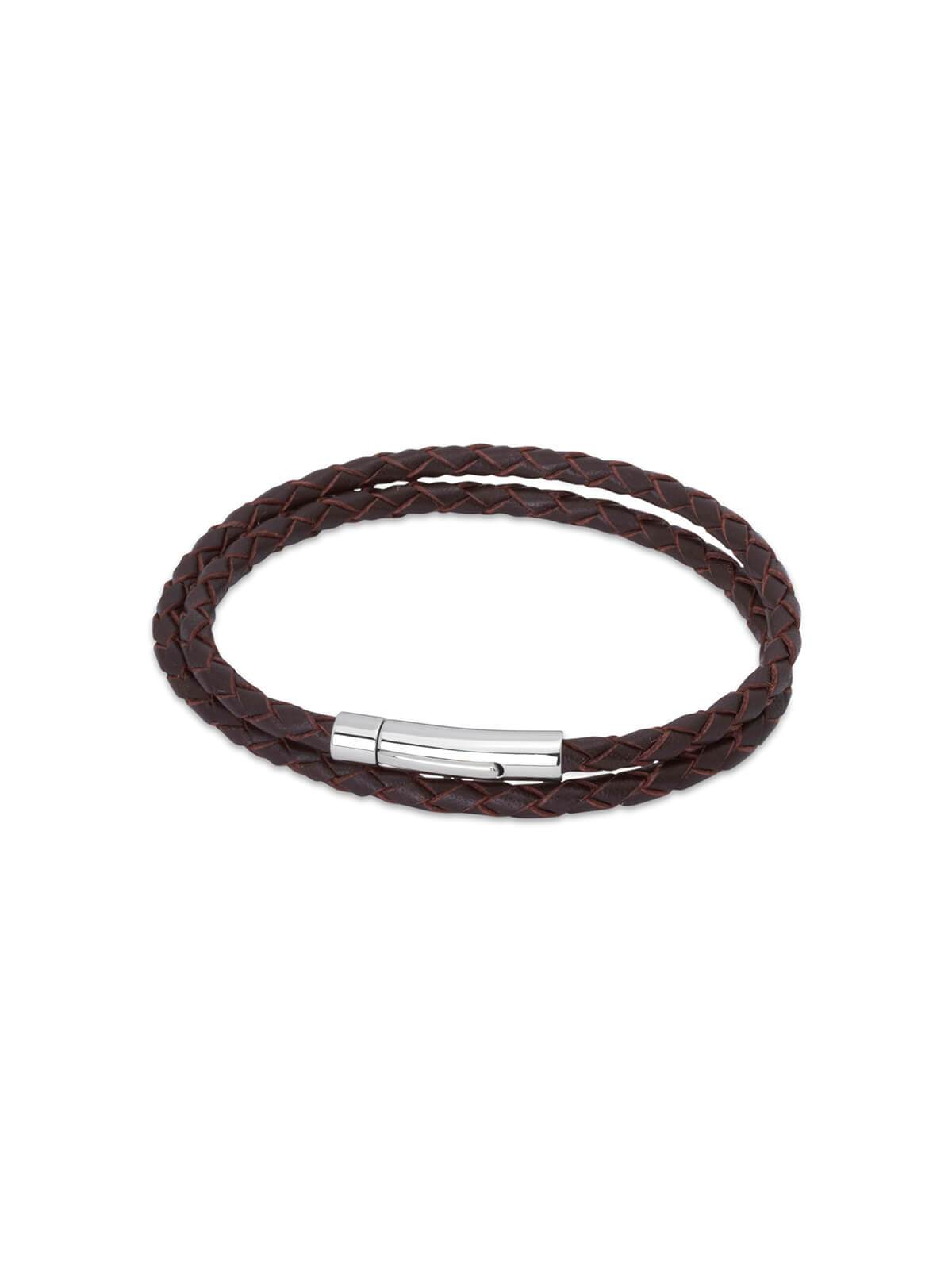 Unique & Co. 21cm Dark Brown Leather Double Wrap Bracelet B62DB/21CM