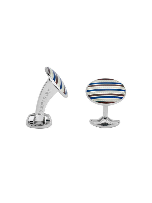 Deakin & Francis Sterling Silver & Enamel Striped Cufflinks C0027S081601