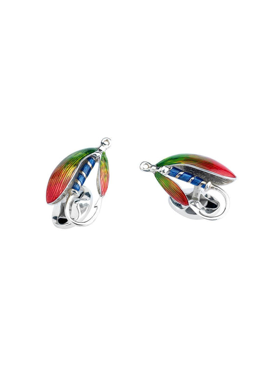 Deakin & Francis Sterling Silver & Enamel Fly Fishing Cufflinks C0572S2513