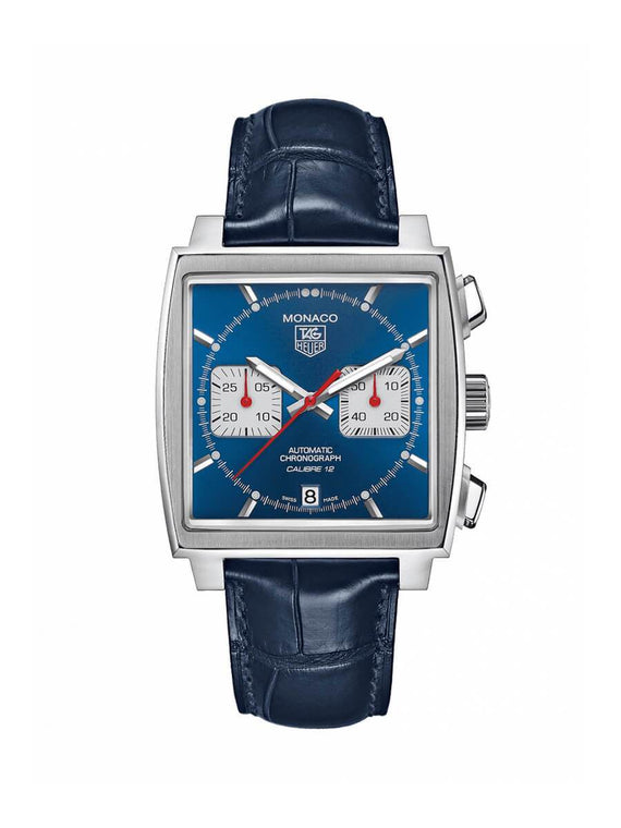 TAG Heuer Gents 39mm Monaco Stainless Steel Automatic Chronograph Watch on Leather Strap CAW2111.FC6183