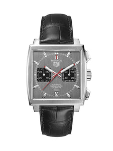 TAG Heuer Gents 39mm Monaco Steel Automatic Chronograph Watch on Leather Strap