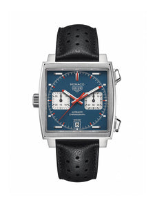 TAG Heuer Gents 39mm Monaco Stainless Steel Automatic Chronograph on Leather Strap CAW211P.FC6356