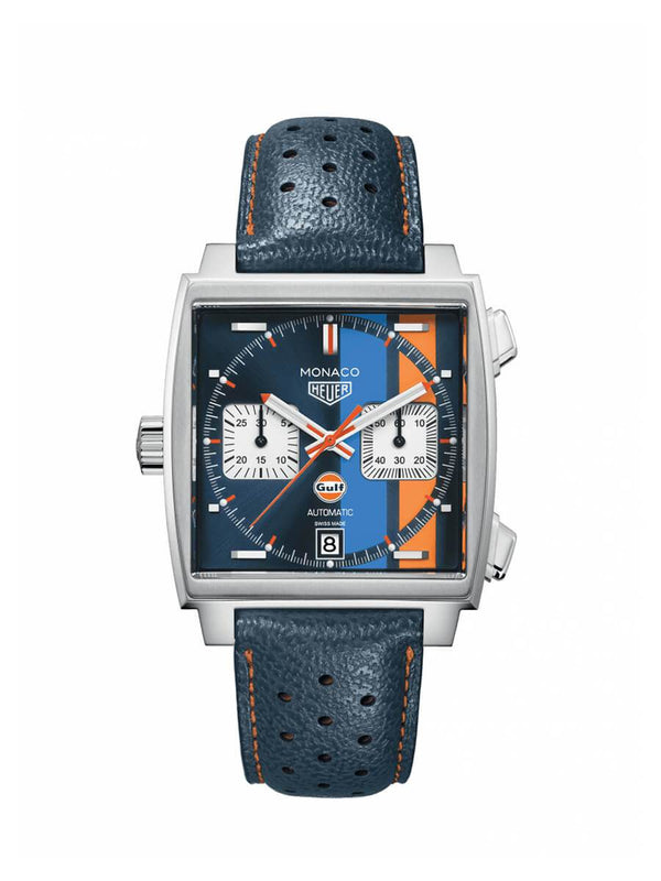 TAG Heuer Gents 39mm Monaco Stainless Steel Automatic Chronograph Watch on Leather Strap CAW211R.FC6401