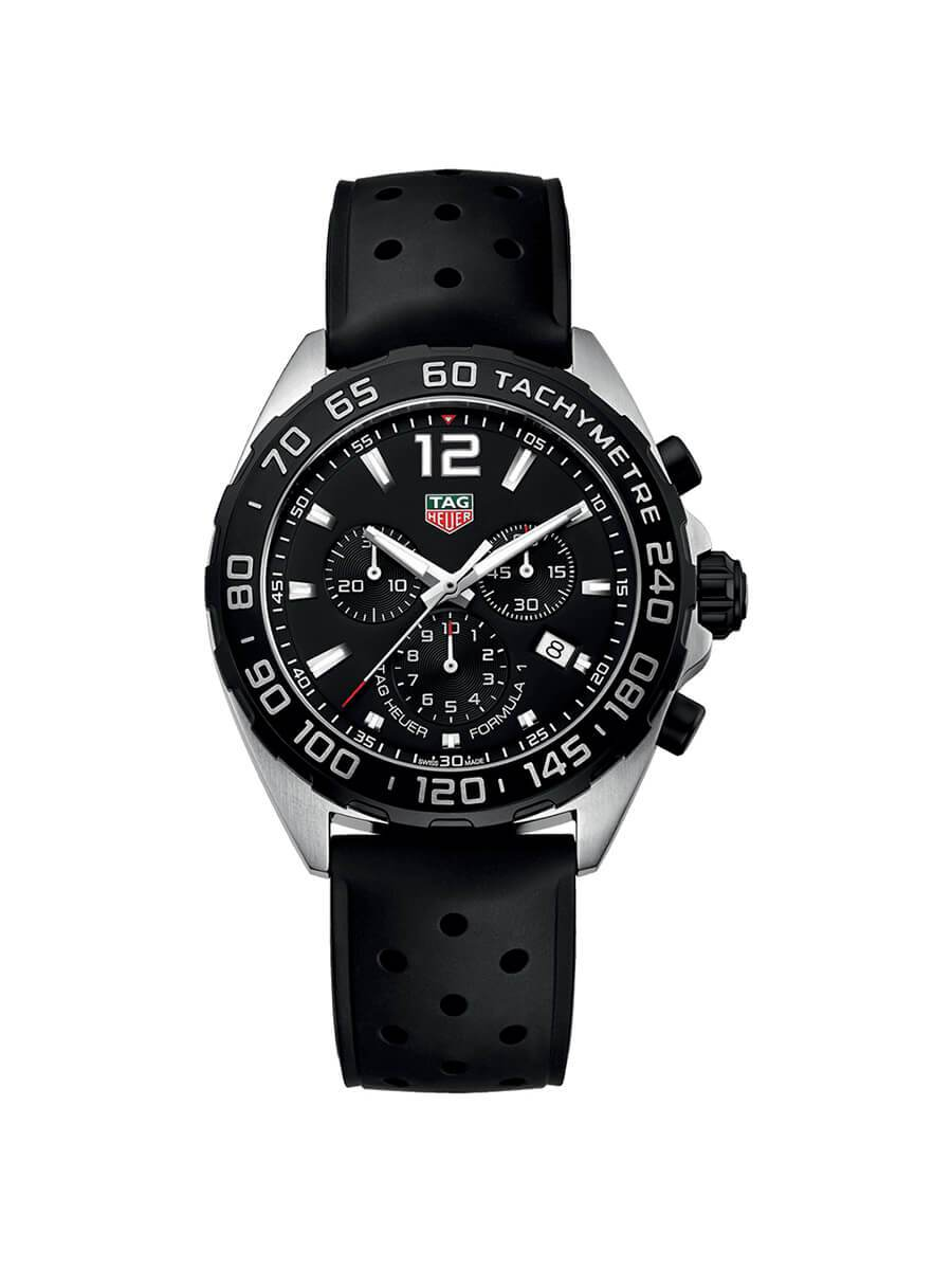 TAG Heuer Gents 43mm Formula 1 Stainless Steel Quartz Chronograph Watch on Rubber Strap CAZ1010.FT8024