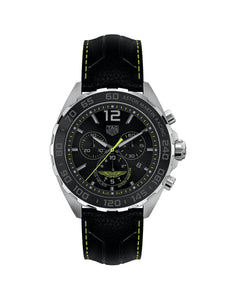 Gents 43mm Formula 1 Aston Martin Racing Special Edition Stainless Steel Quartz Chronograph Watch on Leather Strap