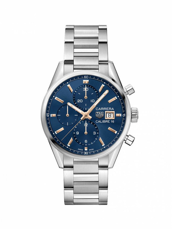 TAG Heuer Gents 41mm Carrera Steel Automatic Chronograph Watch on Bracelet CBK2115.BA0715