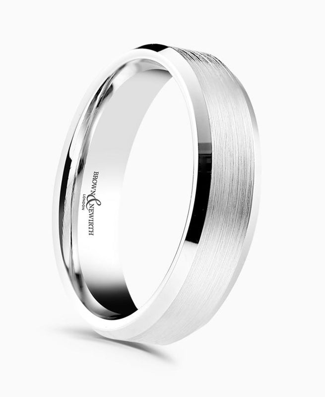 Brown & Newirth Dexter Patterned Wedding Ring in Platinum
