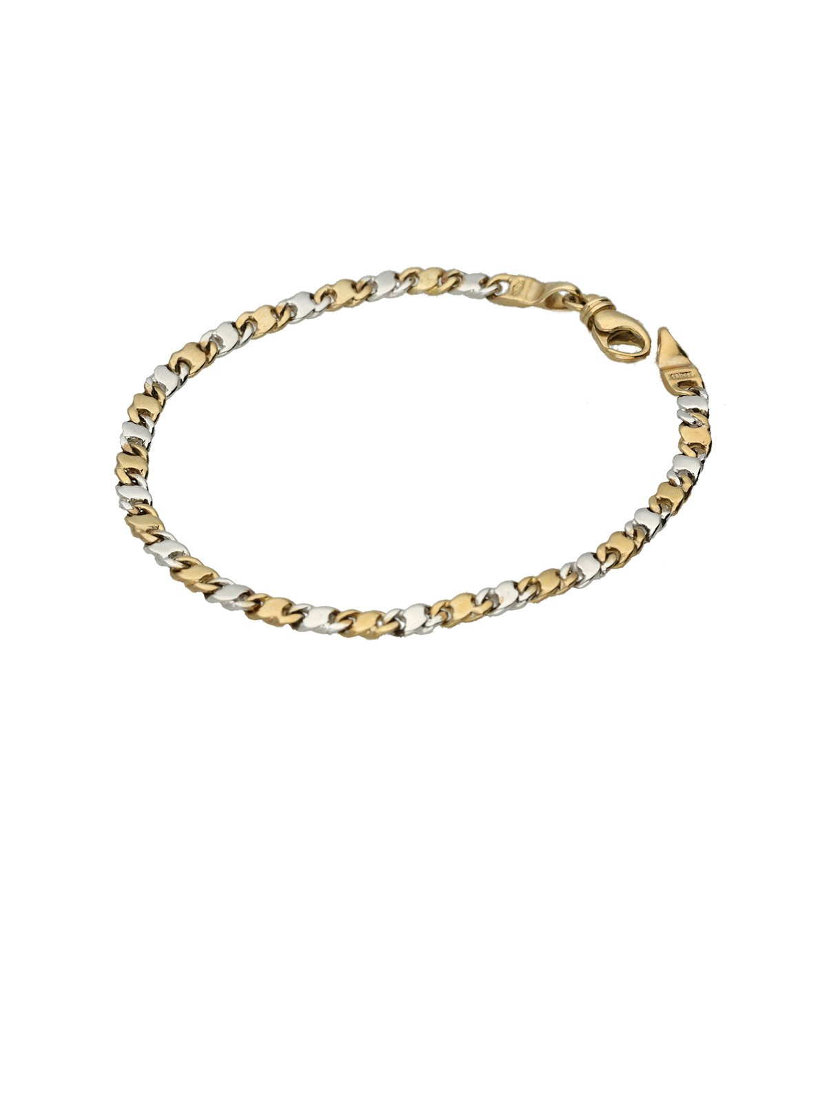 9ct yellow and white gold fancy link bracelet