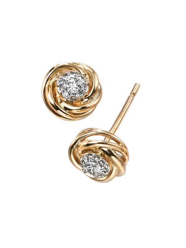 9ct Yellow Gold Diamond Set Swirl Stud Earrings GE2031