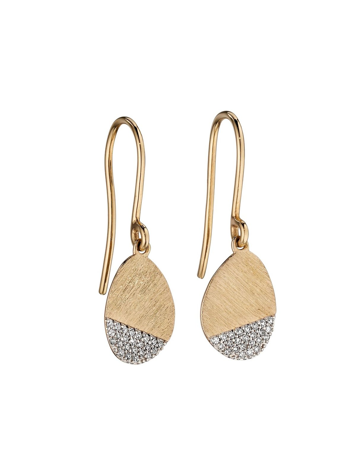 9ct Yellow Gold Diamond Scratch Finish Drop Earrings