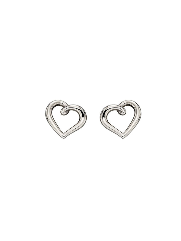 9ct White Gold Organic Heart Stud Earrings
